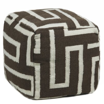 Allsup Textured Contemporary Pouf Ottoman Upholstery: Brown/Cream