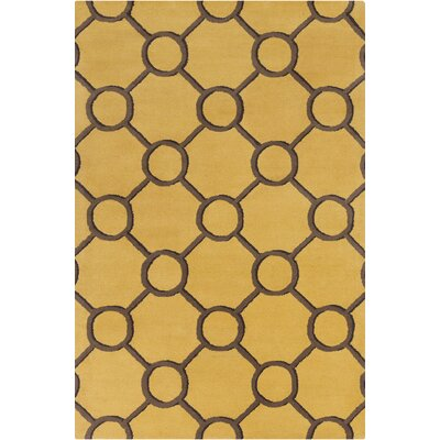 Stella Patterned Contemporary Wool Yellow/Brown Area Rug Rug Size: 5 x 76