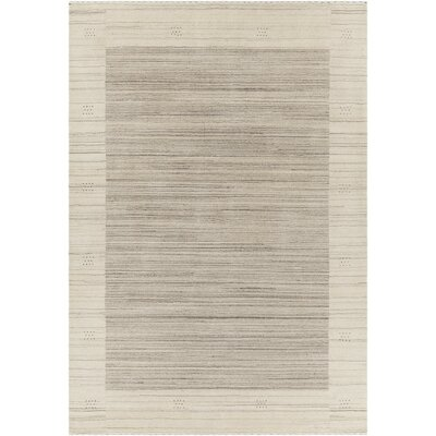 Elantra Patterned Wool Beige Area Rug Rug Size: 79 x 106