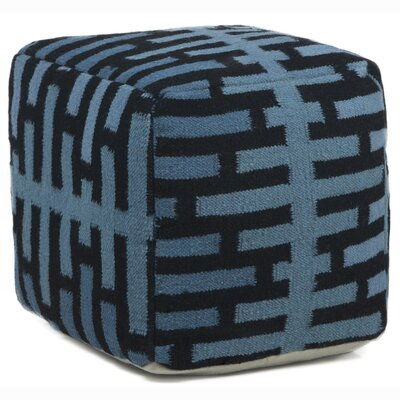Textured Contemporary Ottoman Upholstery: Blue/Black