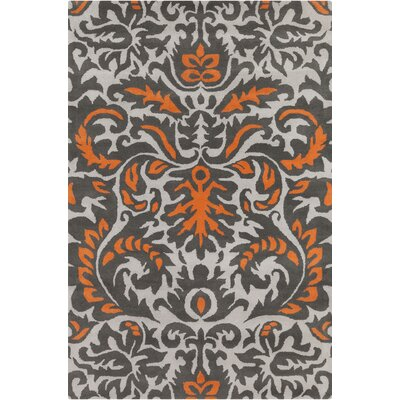 Stella Patterned Contemporary Wool Gray/Orange Area Rug Rug Size: 5 x 76