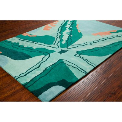 Stella Patterned Contemporary Wool Aqua Area Rug Rug Size: 8 x 10