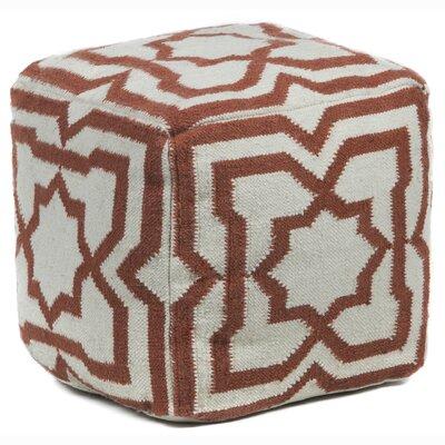 Muriel Textured Contemporary Ottoman Upholstery: Cream/Rust
