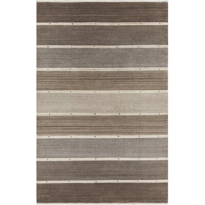Elantra Patterned Knotted Wool Brown/Gray Area Rug Rug Size: 79 x 106