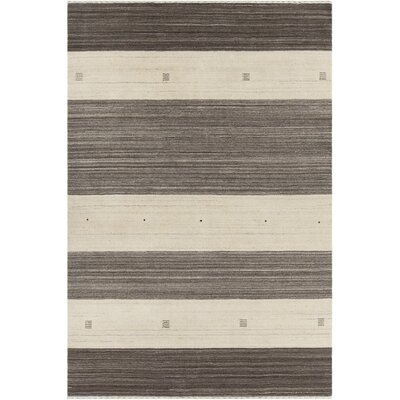 Roxanne Patterned Knotted Wool Brown/Beige Striped Area Rug Rug Size: 79 x 106