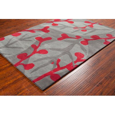 Stella Patterned Contemporary Wool Gray/Red Area Rug Rug Size: 8 x 10