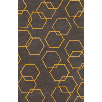 Stella Patterned Contemporary Wool Charcoal/Yellow Area Rug Rug Size: 5 x 76
