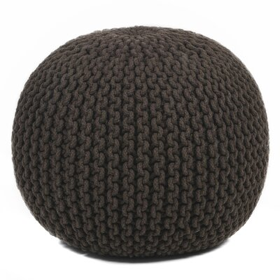 Textured Contemporary Cord Pouf Ottoman Upholstery: Brown