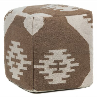America Textured Pouf Upholstery: Brown/Cream
