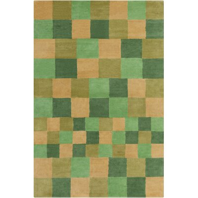 Stella Patterned Contemporary Wool Green/Gold Area Rug Rug Size: 5 x 76