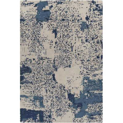 Powell Patterned Contemporary Beige/Blue Area Rug Rug Size: 79 x 106
