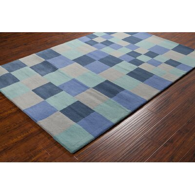 Stella Patterned Contemporary Blue & Gray Area Rug Rug Size: 5 x 76