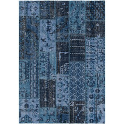 Fusion Patterned Knotted Contemporary Blue Area Rug Rug Size: 79 x 106