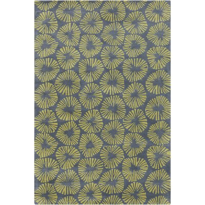 Stella Patterned Contemporary Wool Gray/Green Area Rug Rug Size: 5 x 76