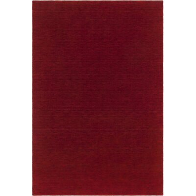 Laura Textured Contemporary Wool Red Area Rug Rug Size: 79 x 106