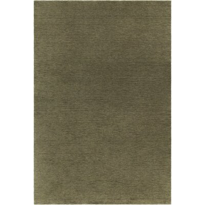 Laura Textured Contemporary Wool Green Area Rug Rug Size: 79 x 106