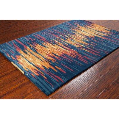 Stella Hand Woven Wool Blue/Orange Area Rug Rug Size: 8 x 10