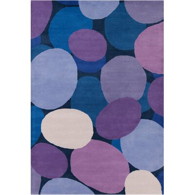 Stella Patterned Contemporary Wool Purple/Blue Area Rug Rug Size: 5 x 76