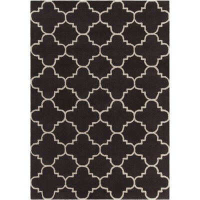 Electra Patterned Contemporary Wool Brown/White Area Rug Rug Size: 5 x 7