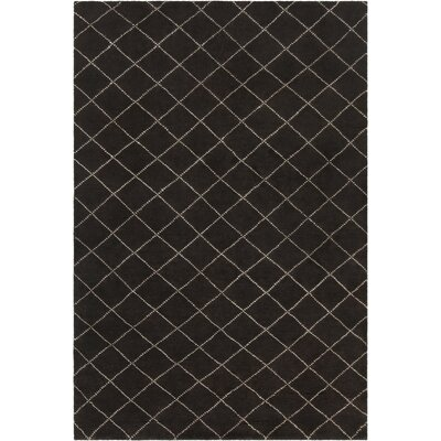 Tenafly Patterned Knotted Contemporary Wool Black/Cream Area Rug Rug Size: 79 x 106