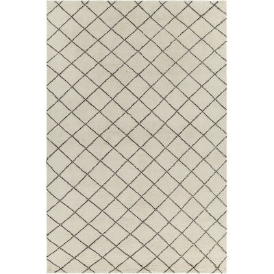 Tenafly Patterned Contemporary Wool Cream/Brown Area Rug Rug Size: 5 x 76