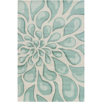 Stella Patterned Contemporary Wool Beige/Aqua Area Rug Rug Size: 5 x 76