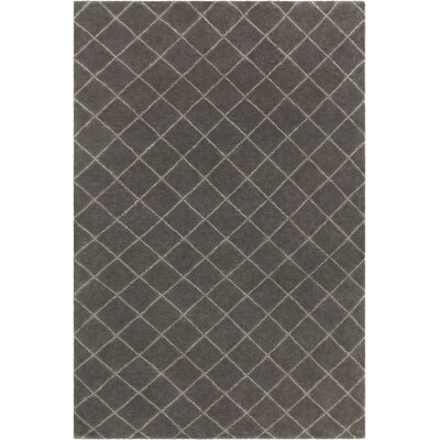 Tenafly Patterned Knotted Contemporary Wool Charcoal Area Rug Rug Size: 5 x 76