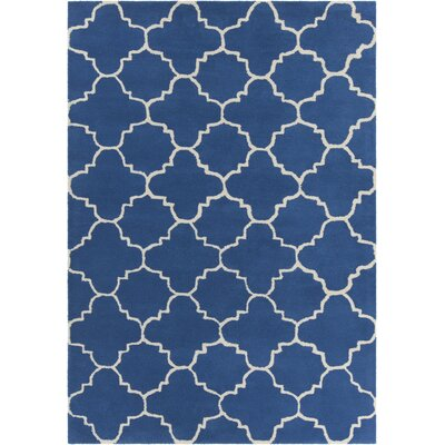 Electra Patterned Contemporary Wool Blue/White Area Rug Rug Size: 5 x 7