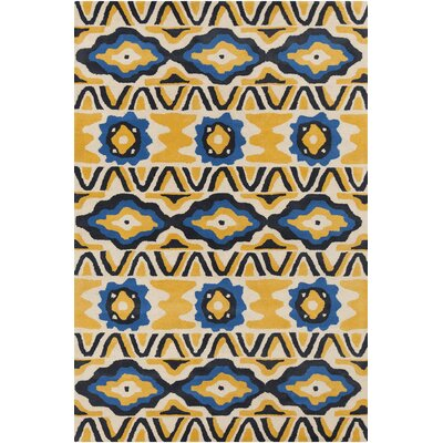 Stella Patterned Contemporary Wool Yellow/Blue Area Rug Rug Size: 8 x 10
