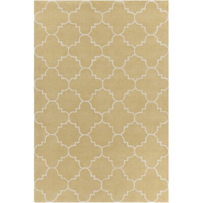 Electra Patterned Contemporary Wool Yellow/White Area Rug Rug Size: 5 x 7