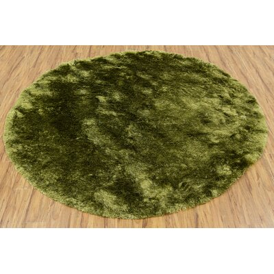 Shaylene Textured Contemporary Green Area Rug Rug Size: Round 79