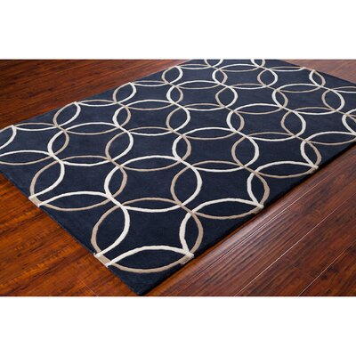 Stella Patterned Contemporary Wool Charcoal Area Rug Rug Size: 5 x 76