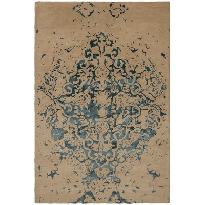 Kassie Patterned Contemporary Tan/Teal Area Rug
