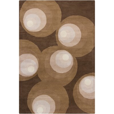 Stella Patterned Contemporary Wool Brown Area Rug Rug Size: 5 x 76