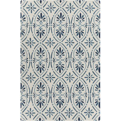 Shoreham Patterned Cream/Blue Area Rug Rug Size: 5 x 76