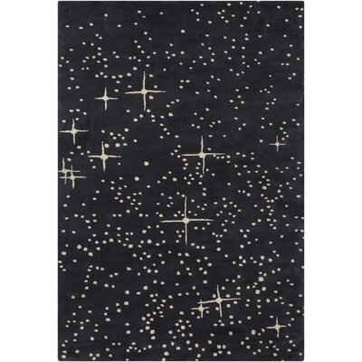 Stella Patterned Contemporary Wool Black/Ivory Area Rug Rug Size: 8 x 10