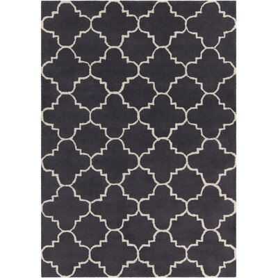 Davin Patterned Contemporary Wool Charcoal Area Rug Rug Size: 5 x 7