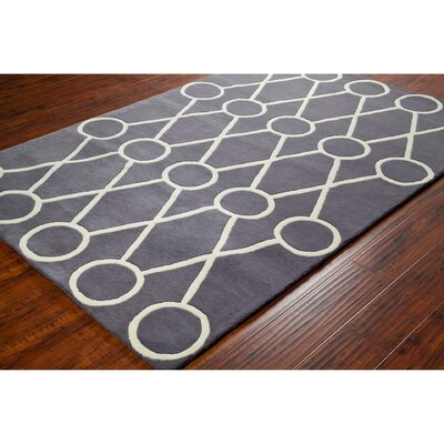 Stella Patterned Contemporary Wool Dark Gray/Cream Area Rug Rug Size: 5 x 76