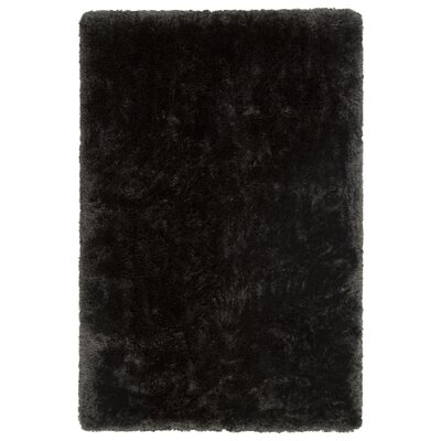 Joellen Textured Contemporary Shag Black Area Rug