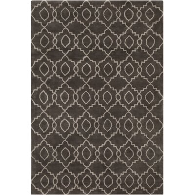 Stella Patterned Contemporary Wool Charcoal/Cream Area Rug Rug Size: 5 x 76