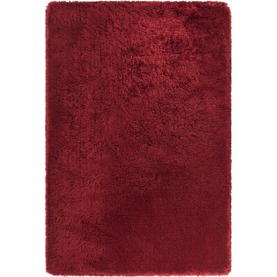Joellen Textured Contemporary Shag Red Area Rug Rug Size: Round 79