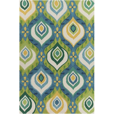 Terra Patterned Green & Blue Indoor/Outdoor Area Rug Rug Size: 5' x 7'6
