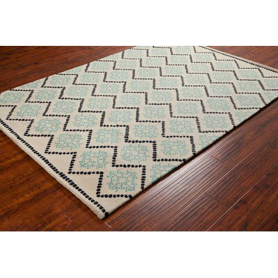 Stella Patterned Contemporary Wool Cream/Aqua Area Rug Rug Size: 5 x 76