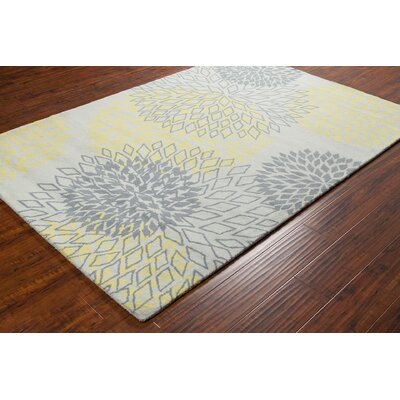 Stella Patterned Contemporary Wool Gray/Yellow Area Rug Rug Size: 5 x 76