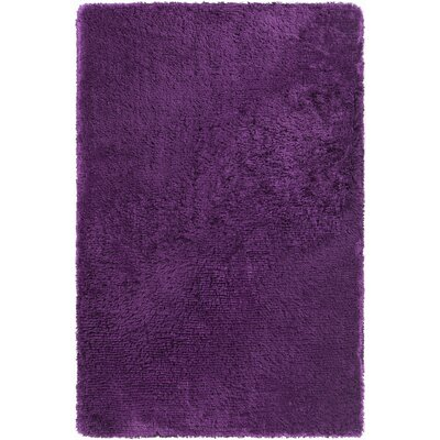Joellen Textured Contemporary Shag Purple Area Rug Rug Size: Round 79
