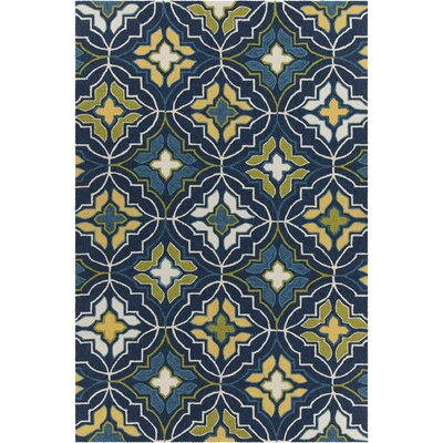 Adonay Patterned Wool Blue Area Rug Rug Size: 79 x 106