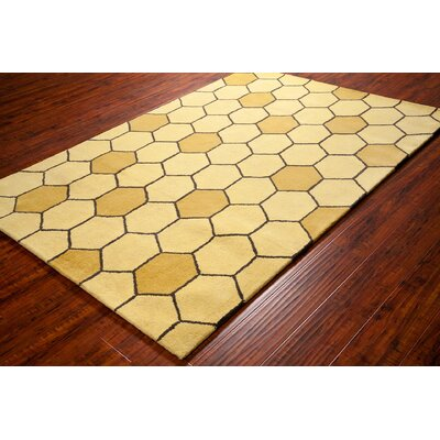 Stella Patterned Contemporary Wool Gold Area Rug Rug Size: 5 x 76