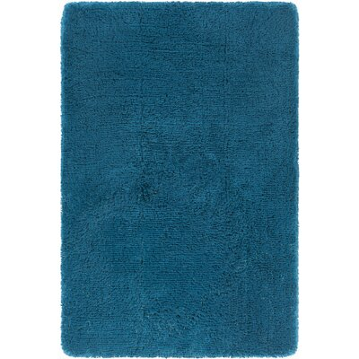 Joellen Textured Contemporary Shag Blue Area Rug Rug Size: Round 79