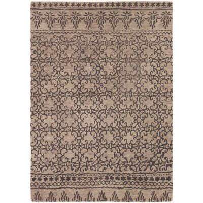 Atascadero Patterned Contemporary Wool Brown Area Rug Rug Size: 79 x 106