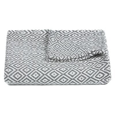 Lia Handcrafted Cotton Throw Blanket Color: Gray / White